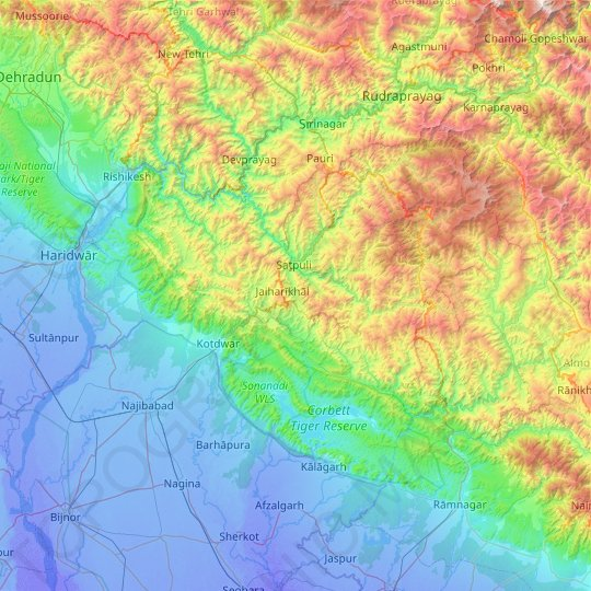 Pauri Garhwal topographic map, elevation, relief