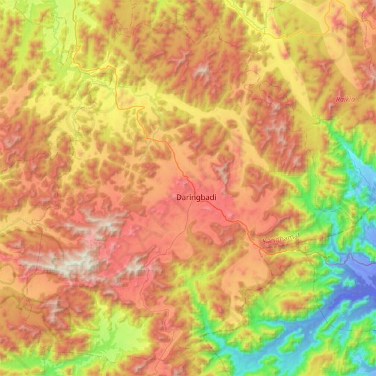 Daringbadi topographic map, elevation, relief
