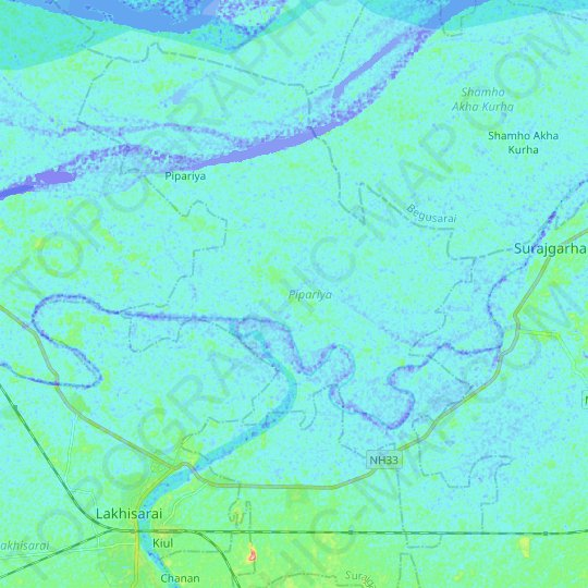 Pipariya topographic map, elevation, relief