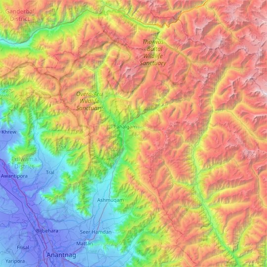 Pahalgam topographic map, relief map, elevations map