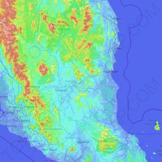 Pahang topographic map, relief map, elevations map