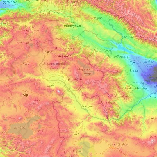 Armenia topographic map, relief map, elevations map