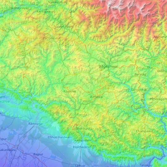 Almora topographic map, elevation, relief