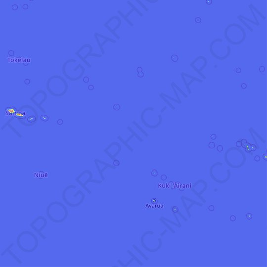 Cook Islands topographic map, relief map, elevations map
