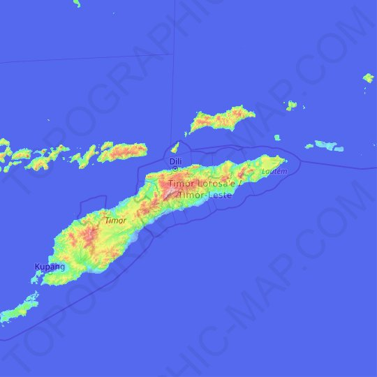 East Timor topographic map, relief map, elevations map