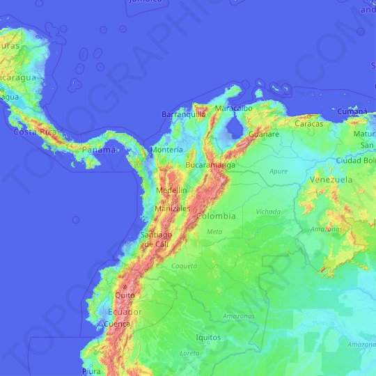 Colombia topographic map, relief map, elevations map
