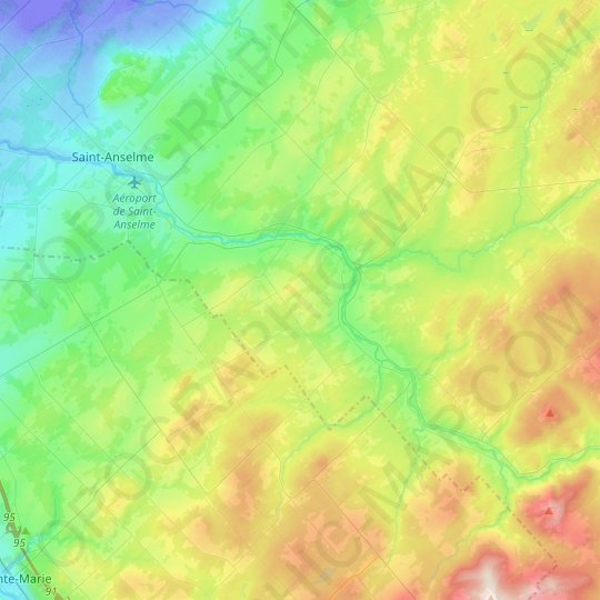 Sainte-Claire topographic map, relief map, elevations map