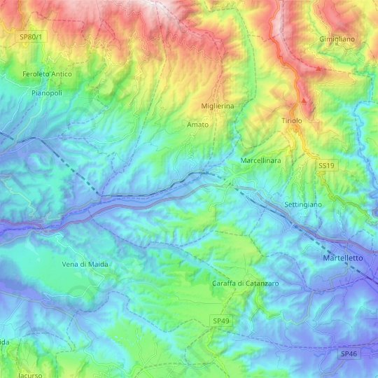 Marcellinara topographic map, relief map, elevations map