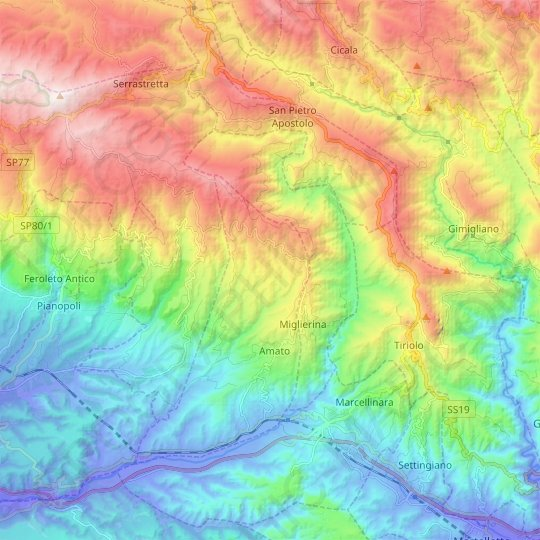 Miglierina topographic map, relief map, elevations map