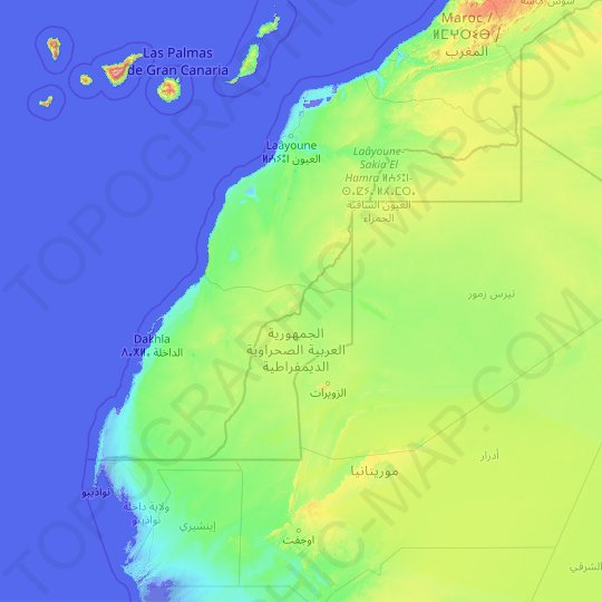Western Sahara topographic map, relief map, elevations map