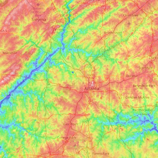 Atlanta topographic map, relief map, elevations map