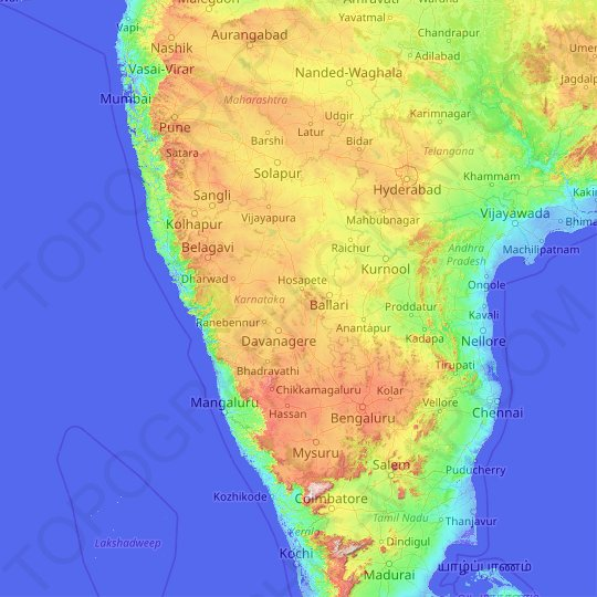 Karnataka topographic map, relief map, elevations map