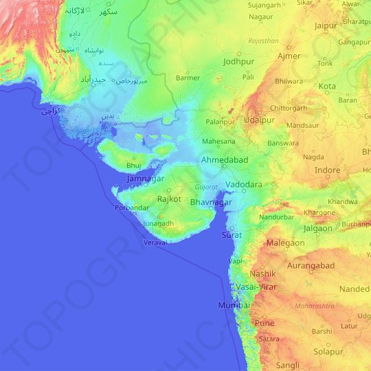 Gujarat topographic map, relief map, elevations map