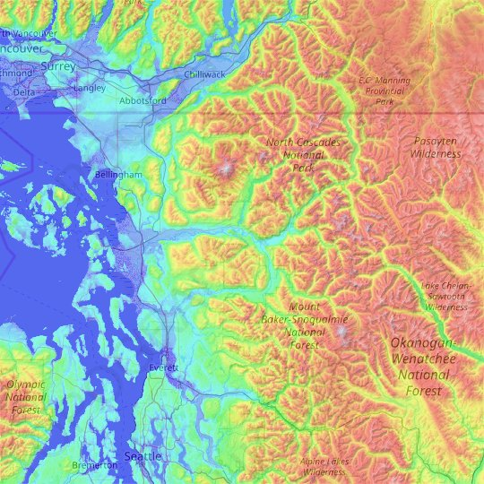 Skagit County topographic map, elevation, relief