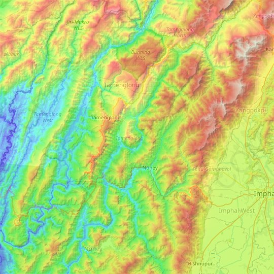 Tamenglong topographic map, elevation, relief