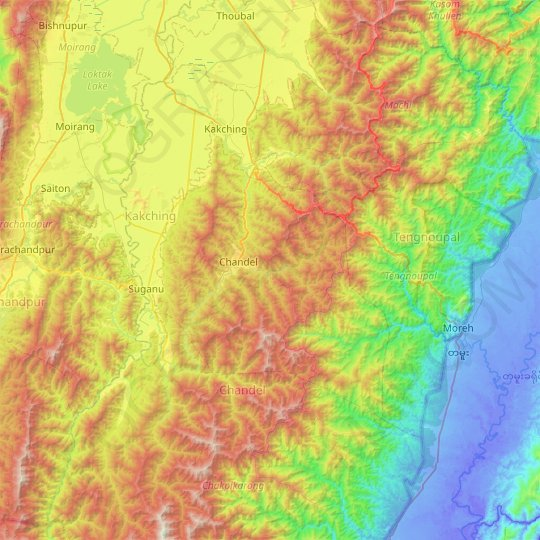 Chandel topographic map, elevation, relief