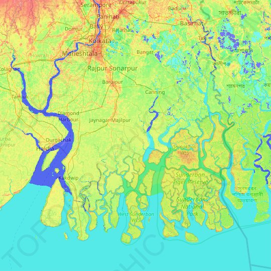 South 24 Parganas topographic map, elevation, relief
