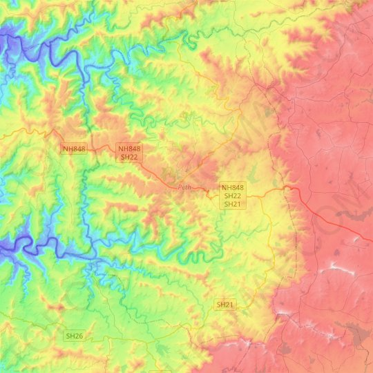 Peth topographic map, elevation, relief