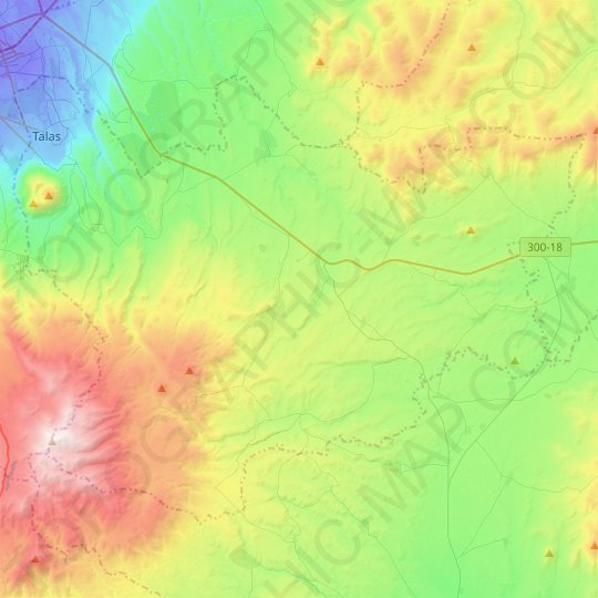 Talas topographic map, elevation, relief