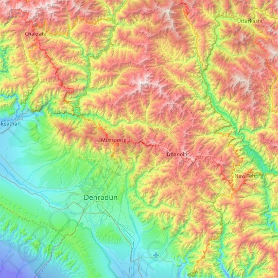 Dhanaulti topographic map, elevation, relief