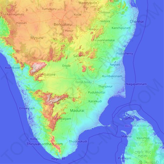 Tamil Nadu topographic map, elevation, relief