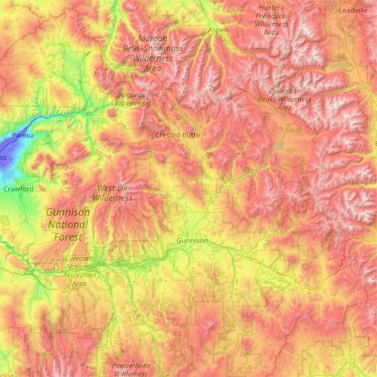 Gunnison County topographic map, elevation, relief