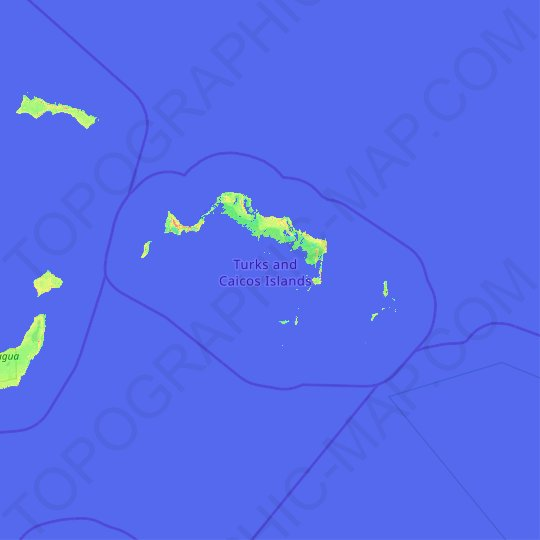 Turks and Caicos Islands topographic map, relief map, elevations map