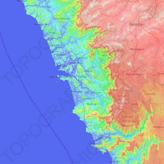 Goa topographic map, relief map, elevations map
