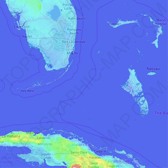 Bimini topographic map, relief map, elevations map