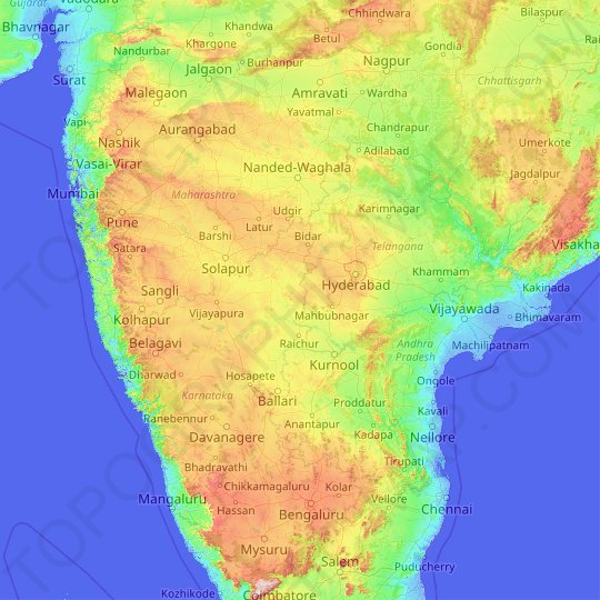Krishna River topographic map, elevation, relief