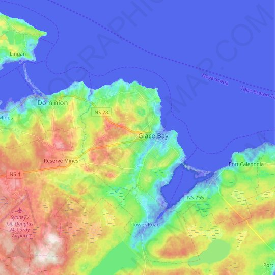 Glace Bay topographic map, relief map, elevations map