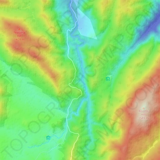 Gudgenby River topographic map, relief map, elevations map